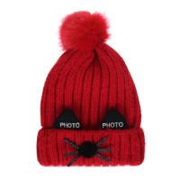 Mũ len thời trang đính hai tai đen và bông tròn