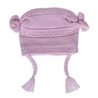 Mũ thời trang bé gái 2 bên len giả