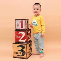 Quần dài cotton bé trai in hình Minion Kiza (Ghi)