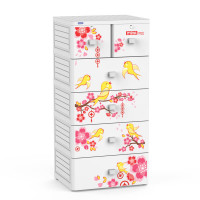 Tủ nhựa Mina Duy Tân 5 tầng 6 ngăn (trắng mục - đỏ)
