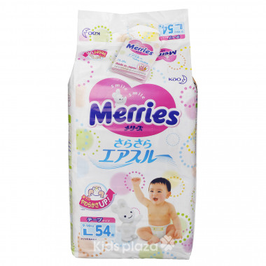 Bỉm - Tã dán Merries size L - 54 miếng cho bé 9-14kg