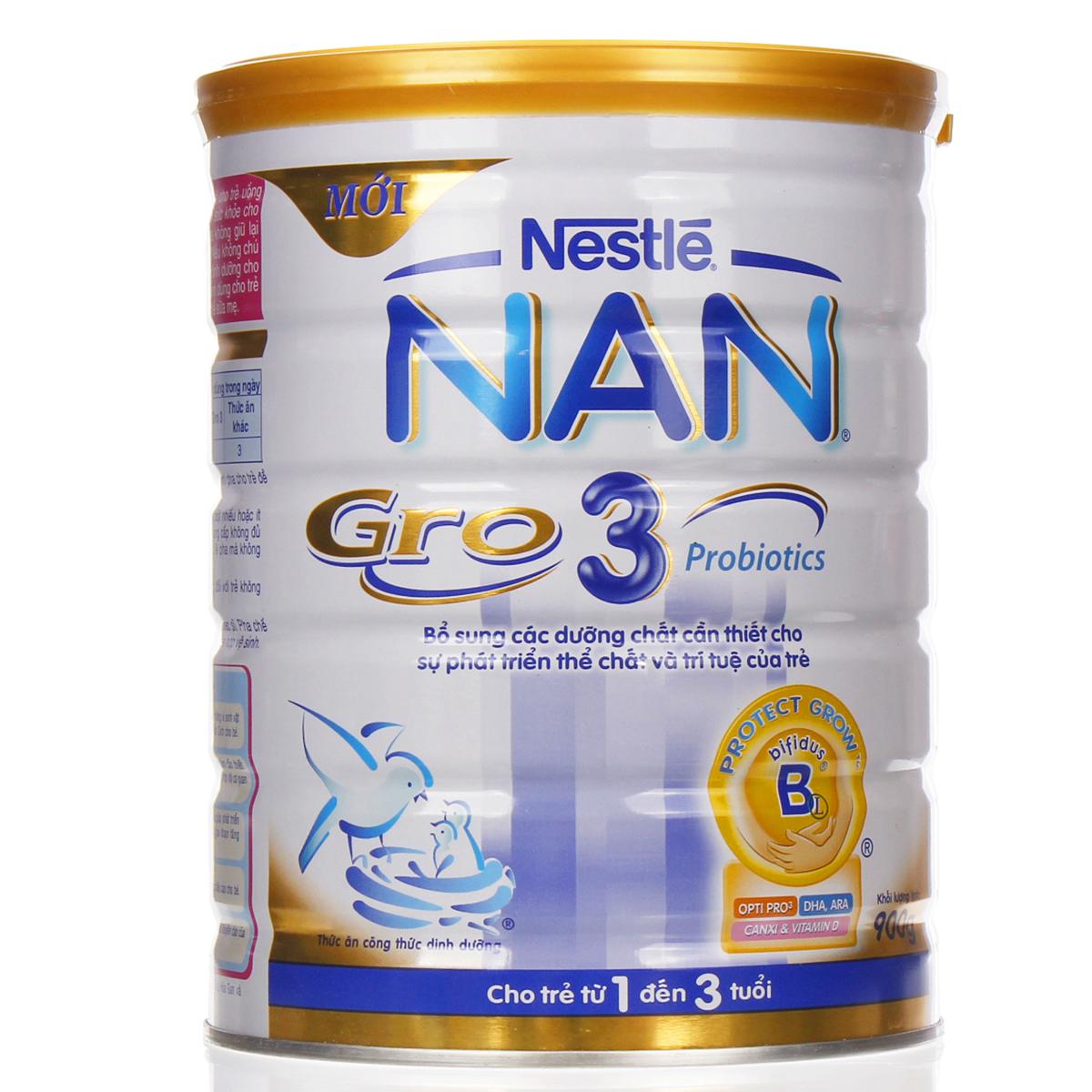 Sữa bột cho bé Nestle Nan Gro số 3 900g (1-3 tuổi)