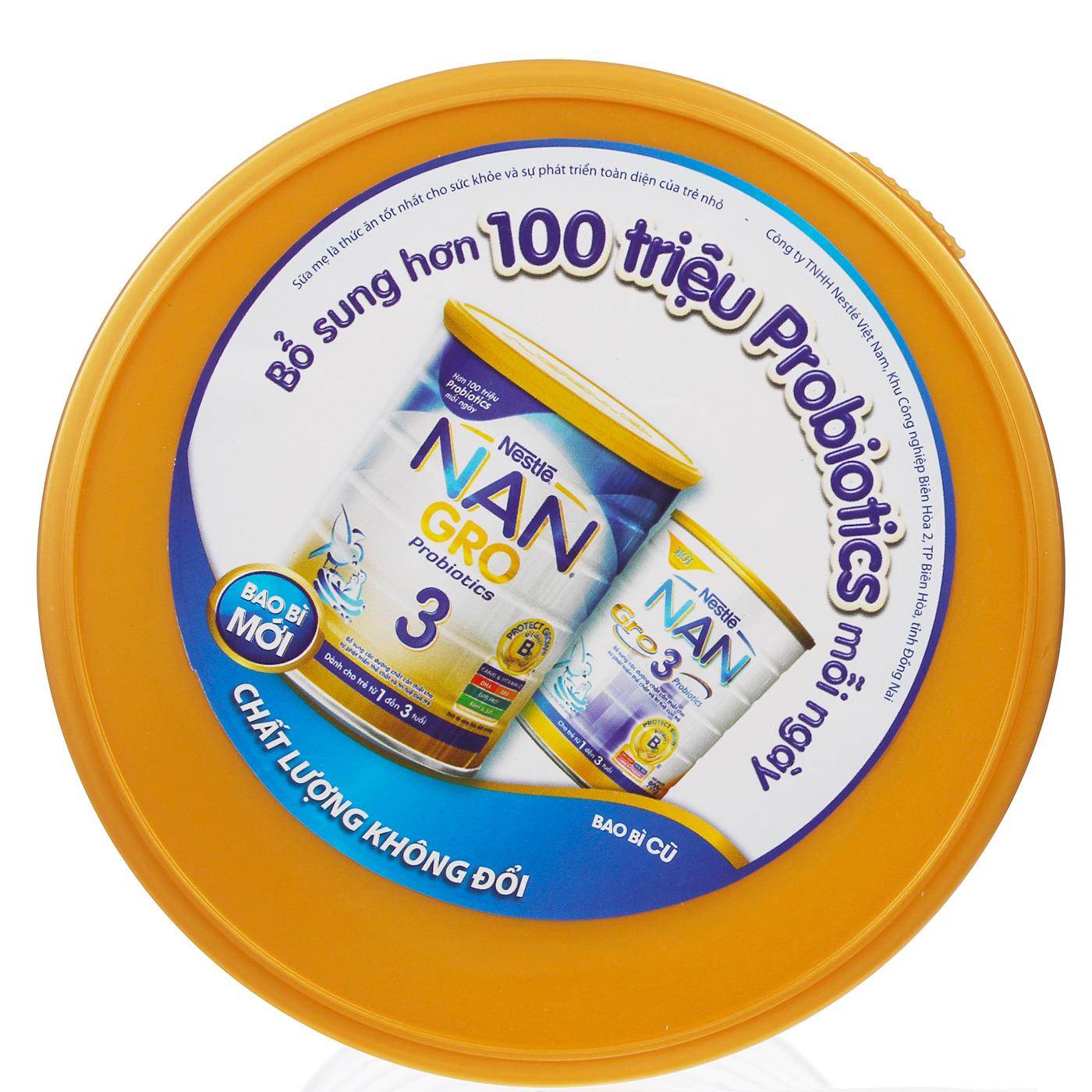 Bao bì mới sữa bột cho bé Nestle Nan Gro số 3 900g