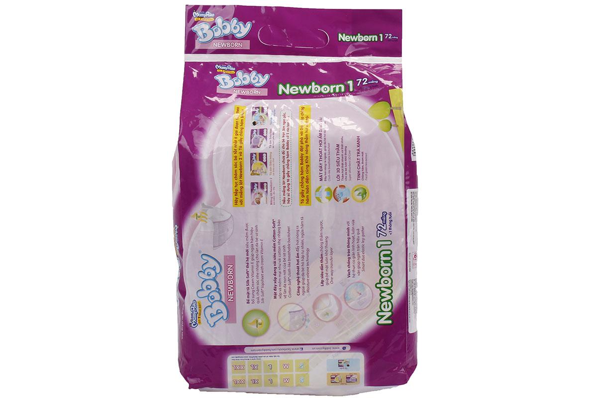 Bỉm Bobby newbonrn 1 túi 72 miếng thoải mái hơn cho bé