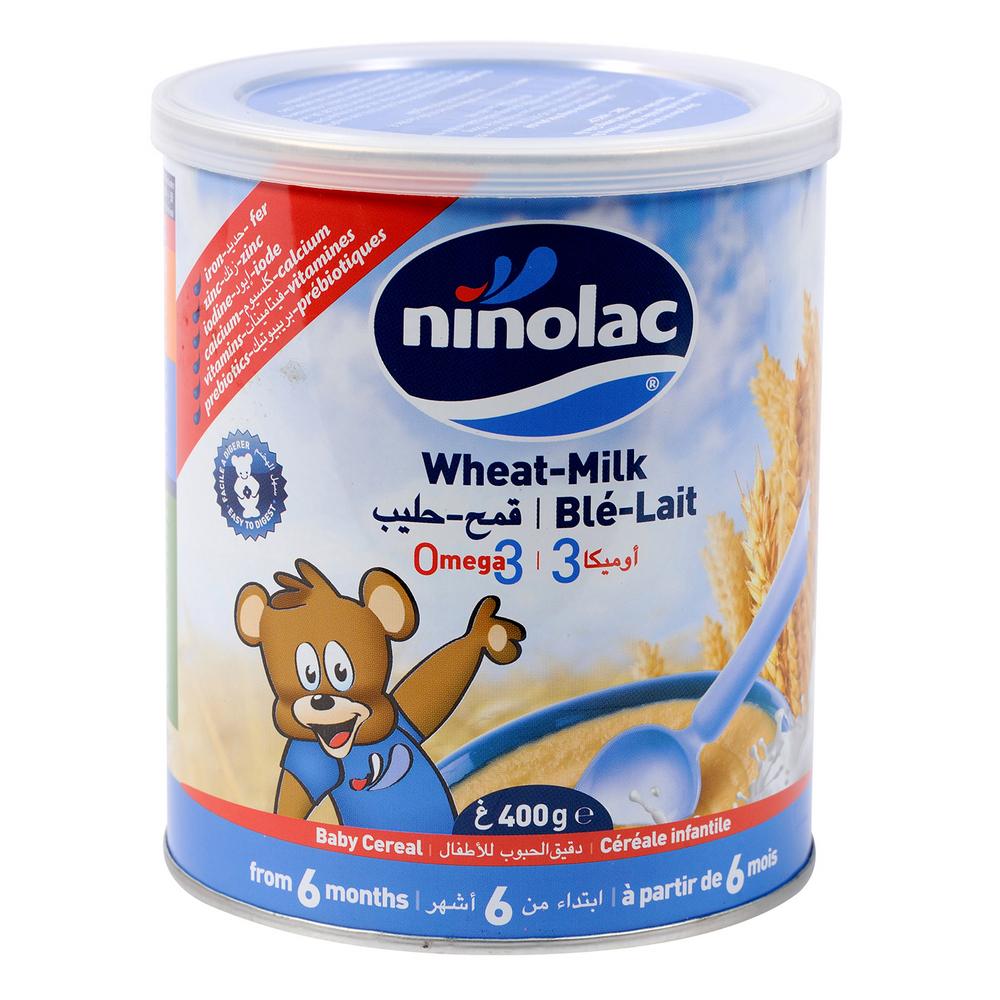 Bột Ninolac lúa mì sữa hộp 400g hương vị thơm ngon cho bé